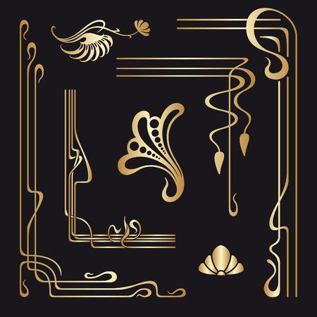 arte: Vector conjunto de estilo Art Nouveau elementos decorativos para el diseño, impresión, bordado.