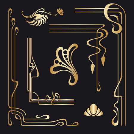 illustration line art: Vector set of art nouveau decorative elements for design, print, embroidery.