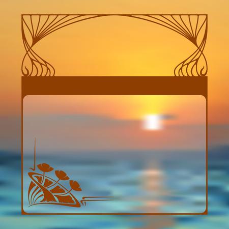 art nouveau frame: Vector summer background whit art nouveau frame and place for text.