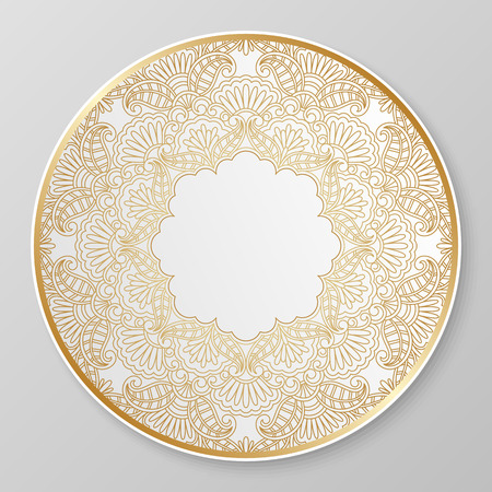 Vector gold floral ornament for decorative plate. Stock Vector - 35458520