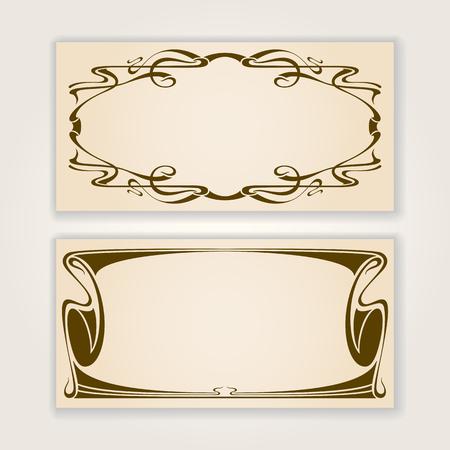 nouveau design: Vector set of vintage labels or invitation cards with art nouveau design elements. Illustration