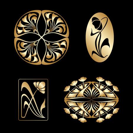 stile liberty: Vector set di elementi decorativi in ??stile art nouveau oro.