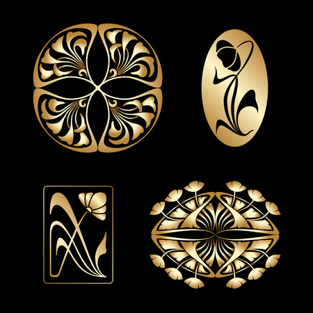art nouveau design: Vector set of gold art nouveau decorative elements.