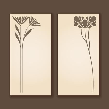 Vector set of vintage labels with art nouveau design elements. Ilustrace