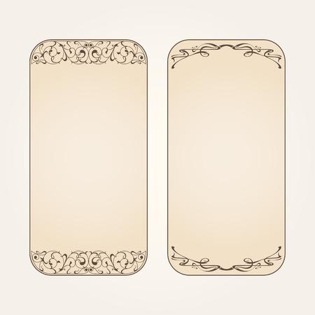 nouveau design: Vector set of vintage labels with art nouveau design elements. Illustration