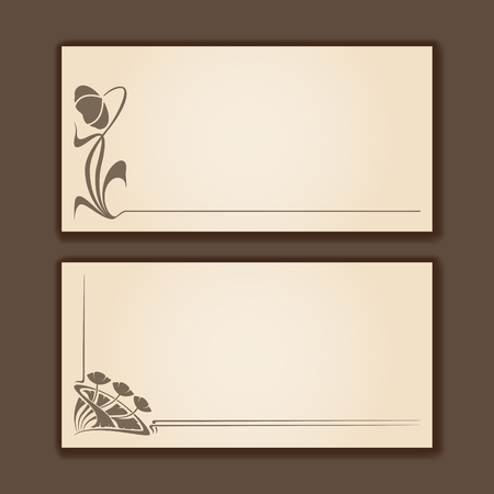 Vector set of vintage labels with art nouveau design elements. Illustration