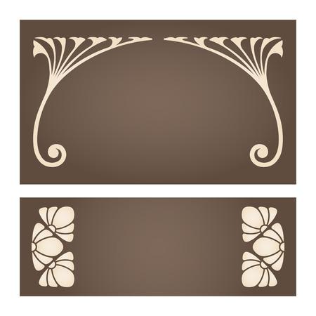 Vector set of vintage labels with art nouveau design elements. 일러스트