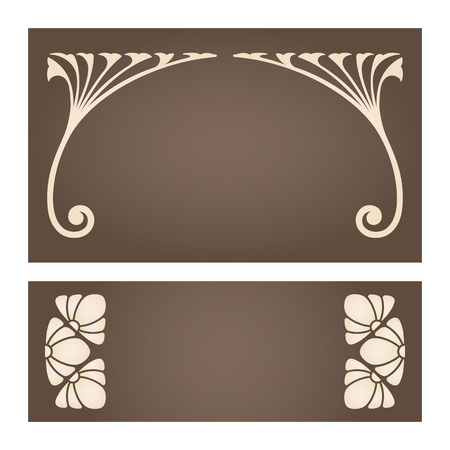 stile liberty: Vector set di etichette d'epoca con elementi di design in stile liberty.