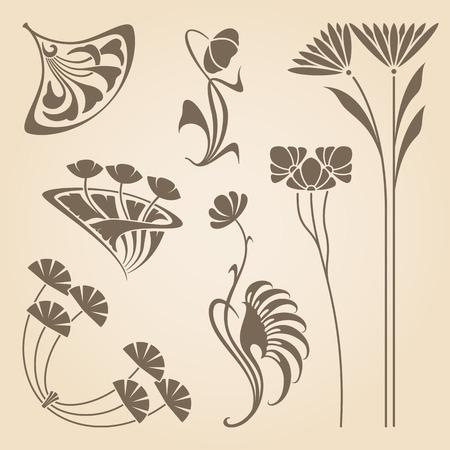 stile liberty: Vector set di elementi di design d'epoca liberty. Vettoriali