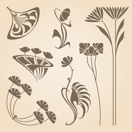 illustration line art: Vector set of vintage art nouveau design elements.