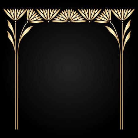stile liberty: Vector art nouveau cornice d'oro con lo spazio per il testo.