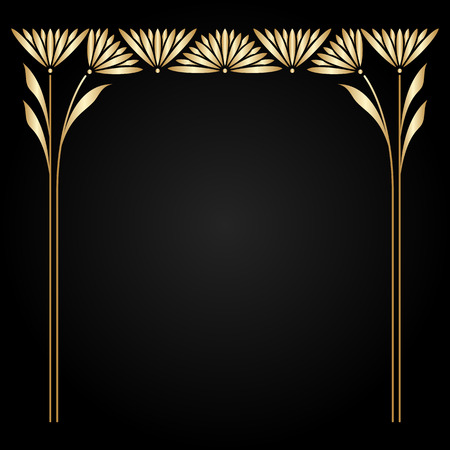 filigree border: Vector art nouveau gold frame with space for text.