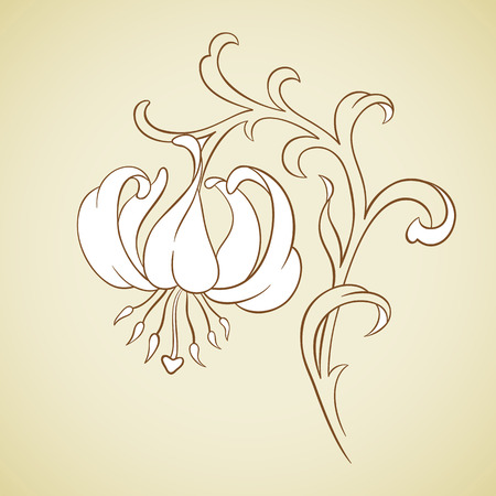 lily buds: Vector decorative lily in vintage style on beige.