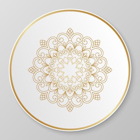 pietanza: Ornamento floreale di vettore d'oro per piatto decorativo.