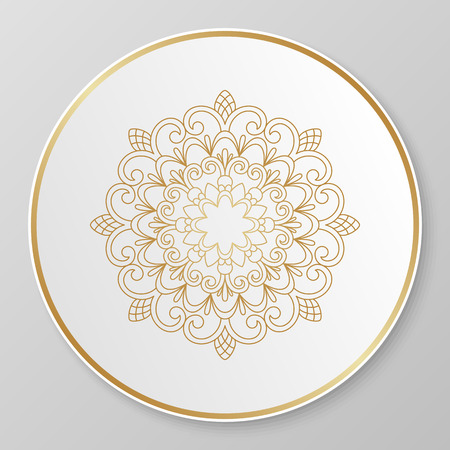 Vector gold floral ornament for decorative plate.