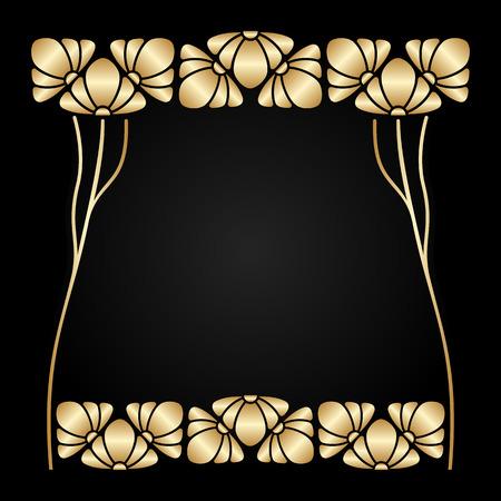 stile liberty: Vector art nouveau ornamento con spazio per il testo.