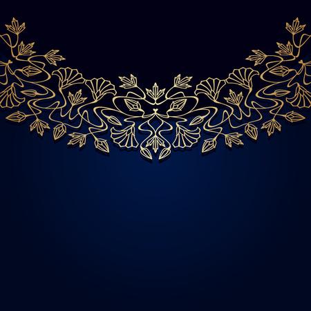 stile liberty: Vector invito scheda con art nouveau ornamento e lo spazio per il testo.
