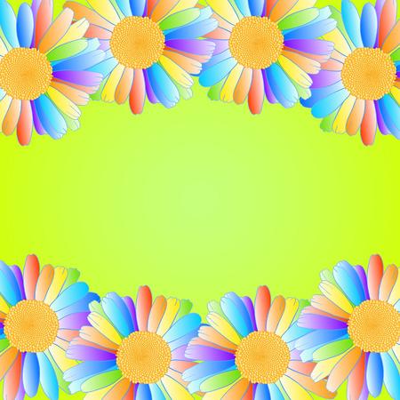 daisy vector: Vector daisy flowers with rainbow petals on yellow-green background.