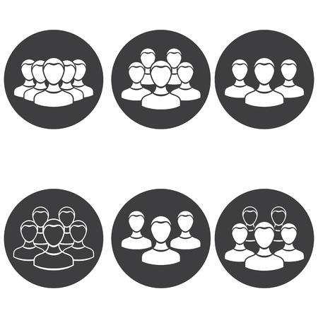 silueta hombre: Vector conjunto de equipo de la gente del icono ronda.