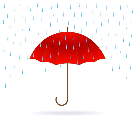 weatherproof: Vector opened red umbrella and rain on white background. Illustration