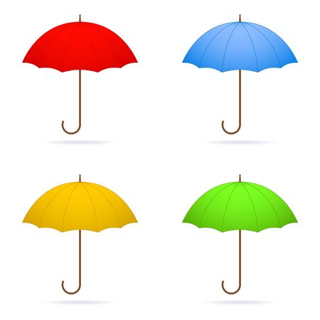 weatherproof: Vecror four umbrellas isolated on white background.