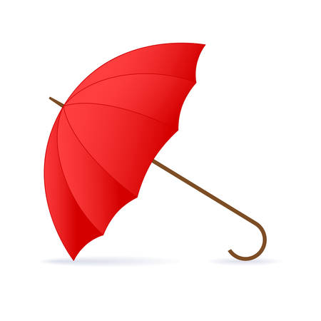 weatherproof: Vector opened red umbrella on white background.