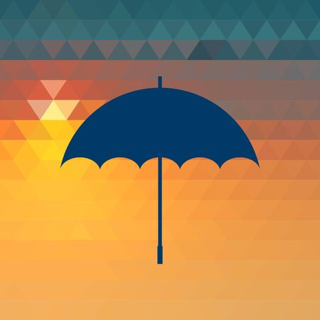 weatherproof: Vector opened umbrella on the sunset geometric background.