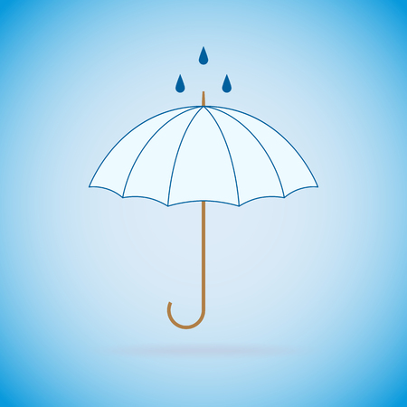 weatherproof: Vector opened umbrella and rain on blue background.