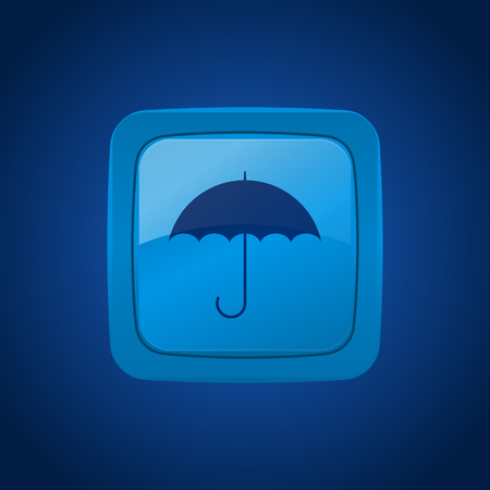 weatherproof: Vector button with umbrella on blue background.