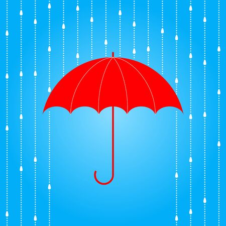weatherproof: Vector opened red umbrella and rain on blue background.