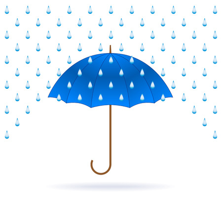 weatherproof: Vector opened blue umbrella and rain on white background.
