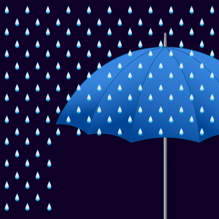 weatherproof: Vector opened blue umbrella and rain on dark background.