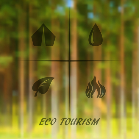 eco tourism: blurred forest background with icons eco tourism.