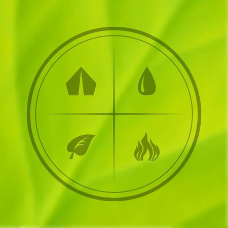 eco tourism: eco tourism symbols on green leaf.