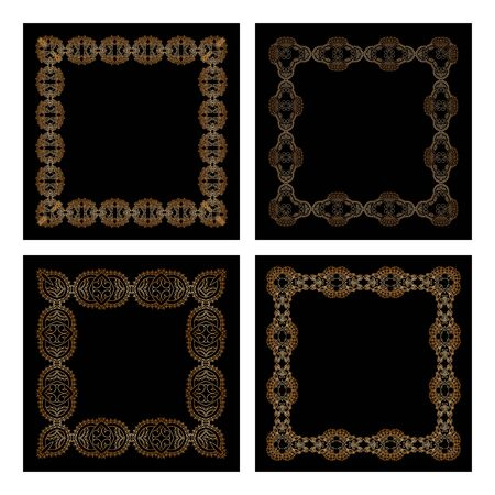 gold banner: set of decorative floral vintage frames for design. Illustration