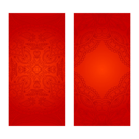 red floral: set of red floral decorative background