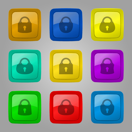 Vector set of glossy colorful buttons with locks.