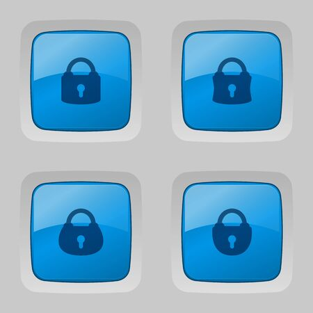 glossy buttons: Vector set of blue glossy buttons with locks.