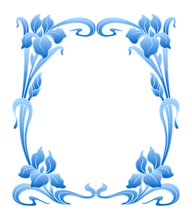 irises: Vector art nouveau ornamental frame with space for text. Illustration