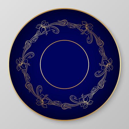 Vector floral art nouveau iris ornament for decorative plate. Vector