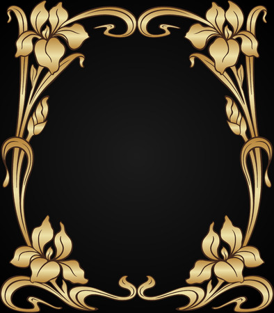 decor: Vector art nouveau gold iris ornamental frame with space for text. Illustration