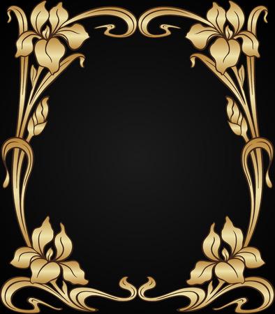 elementos: Vector art nouveau iris de oro del marco ornamental con el espacio para el texto.