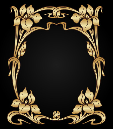 Vector art nouveau gold iris ornamental frame with space for text. Illustration