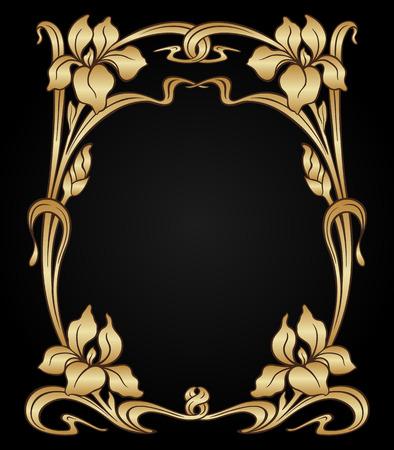 Vector art nouveau gold iris ornamental frame with space for text. Ilustração