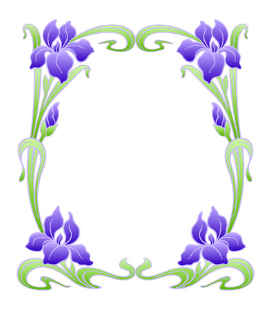 iris: Vector art nouveau ornamental frame with space for text. Illustration