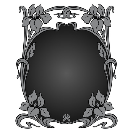 stile liberty: Vector art nouveau cornice ornamentale con spazio per il testo. Vettoriali
