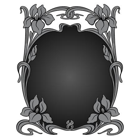 art nouveau: Vector art nouveau ornamental frame with space for text. Illustration