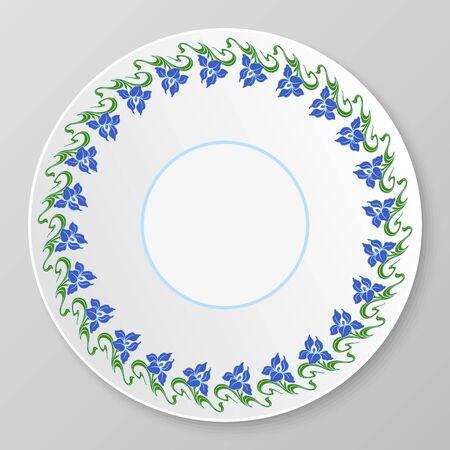 Vector floral art nouveau ornament for decorative plate. Vector