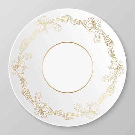 art nouveau frame: Vector art nouveau iris ornament for decorative plate.