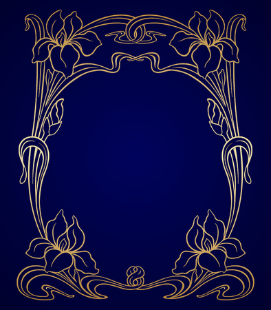 decors: Vector art nouveau gold iris ornamental frame with space for text. Illustration